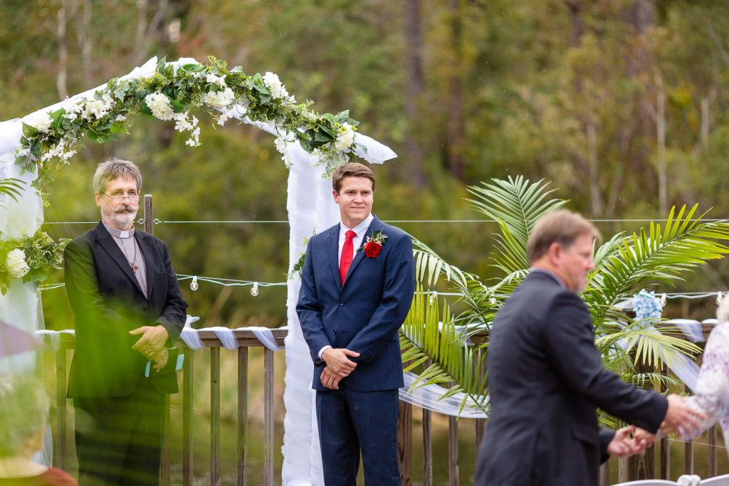 groom waiting on bride in Southport NC