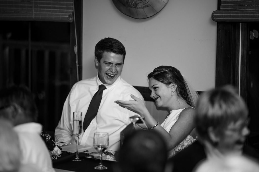 bride sheds a tear during speeches at cape fear yacht club