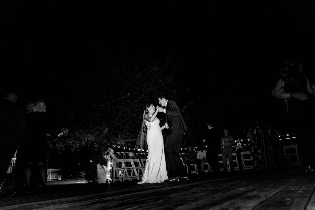 bride and groom dancing at cape fear yacht club