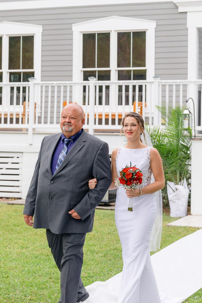 Bride and her father in Southport NC